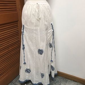 Maxi Peasant Gathered Full White & Blue Skirt